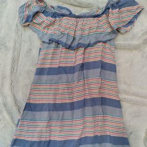 Charming Charlie multi colour striped ruffle dress